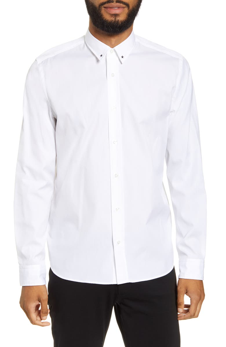 HUGO Emero Relaxed Fit Embroidered Button-Up Shirt, Main, color, WHITE