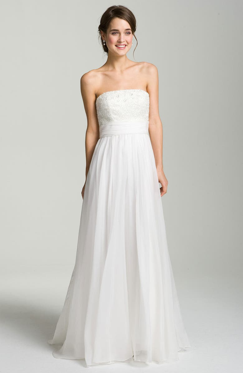 THEIA Embellished Strapless Organza Gown, Main, color, 900