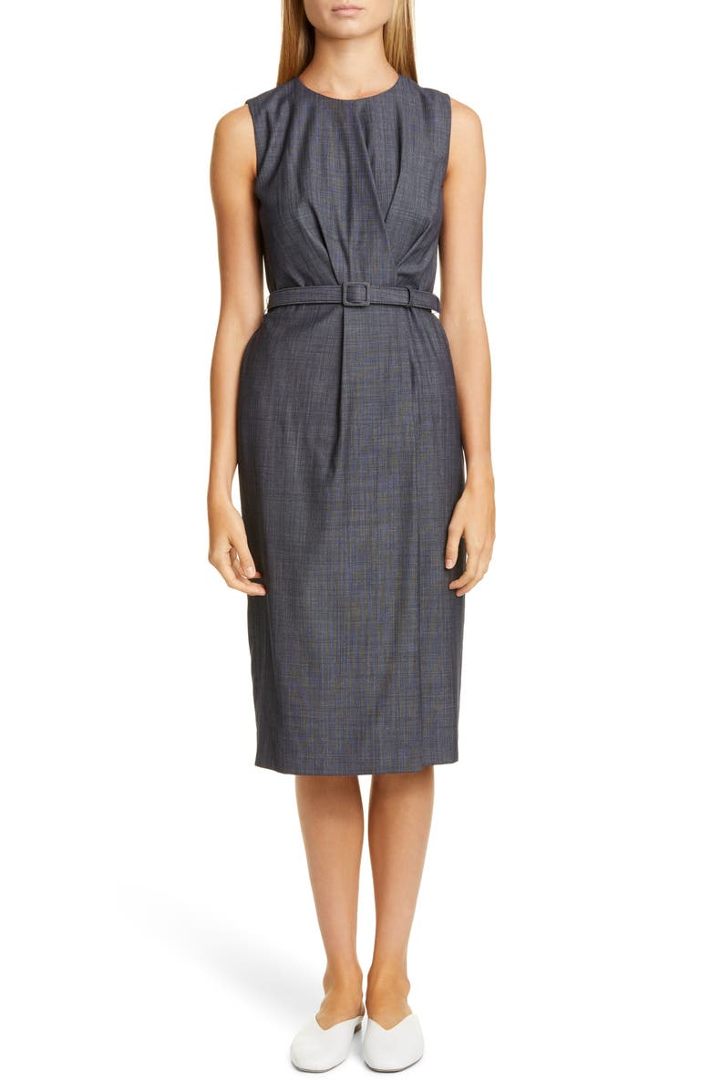 LAFAYETTE 148 NEW YORK Jude Belted Faux Wrap Wool Blend Dress, Main, color, ROYAL BLUE MULTI
