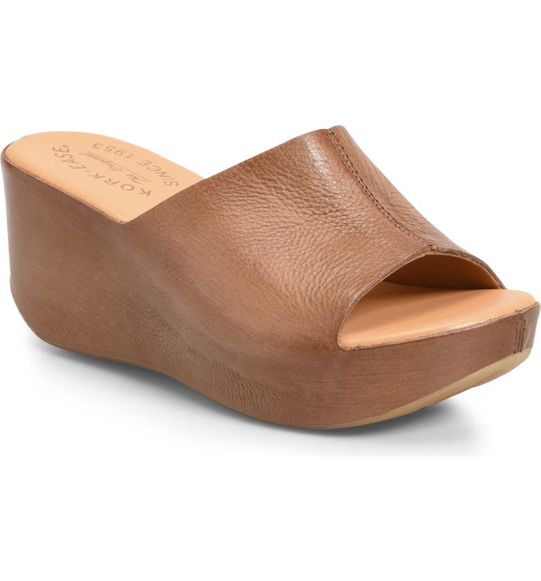KORK-EASE<SUP>®</SUP> 'Greer' Wedge Sandal, Main, color, BROWN LEATHER