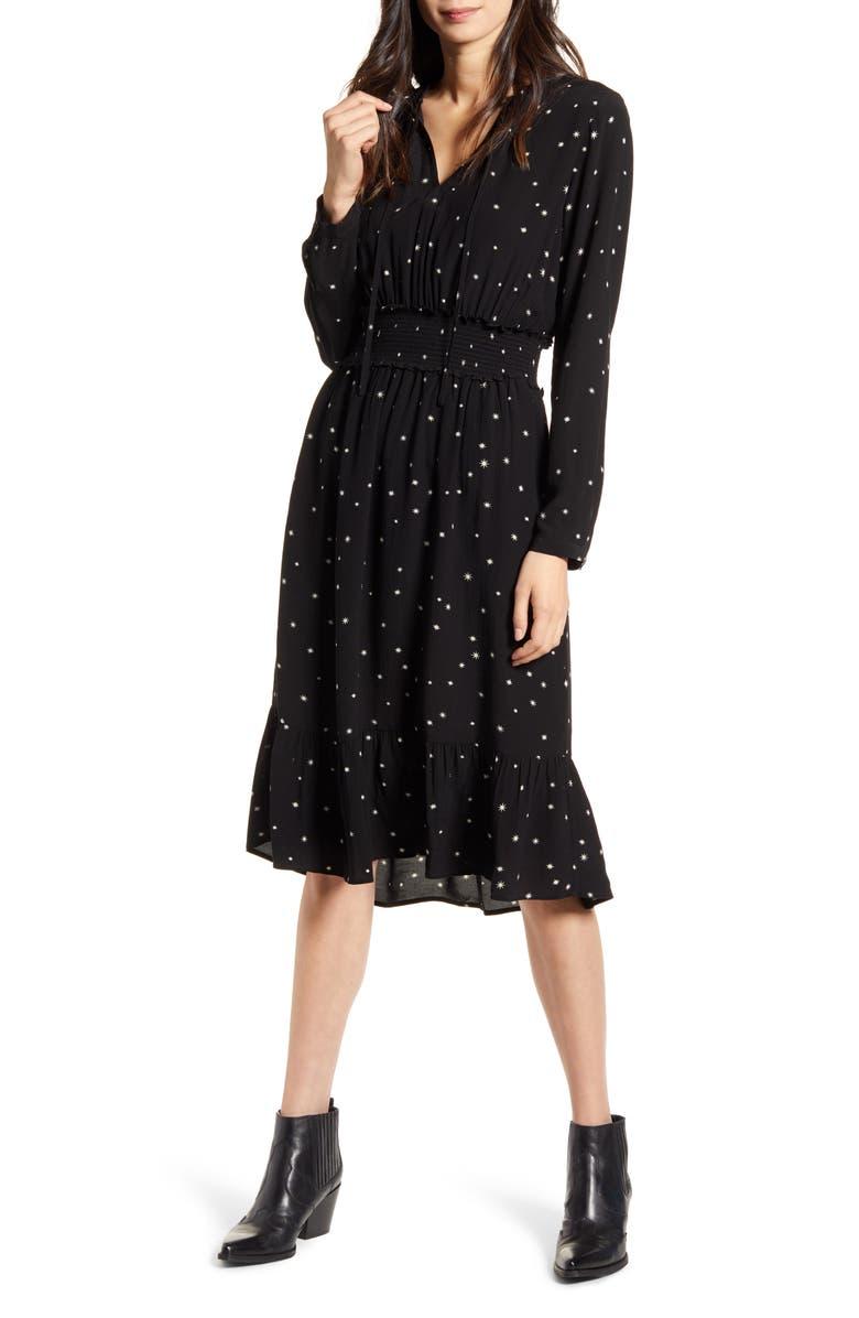 RAILS Joy Star Print Long Sleeve Dress, Main, color, ONYX STARBURST