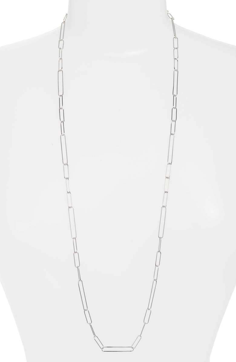 ARGENTO VIVO Long Paperclip Necklace, Main, color, 040