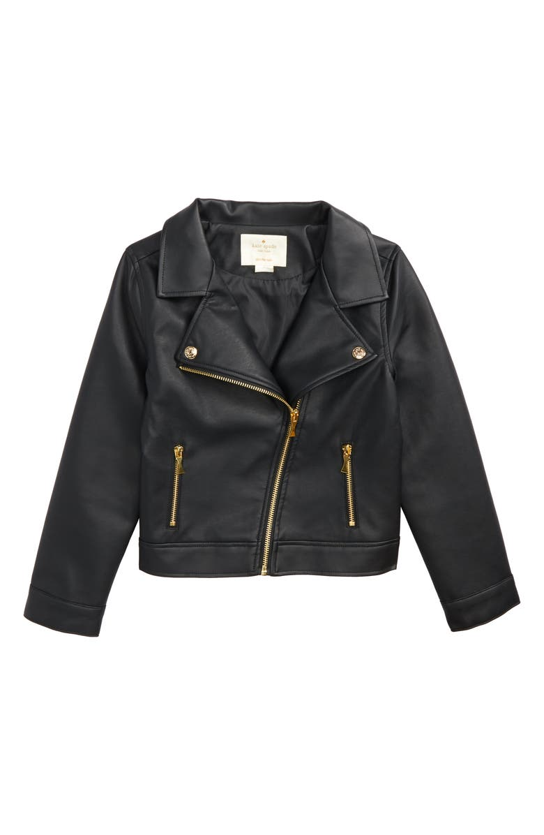 KATE SPADE NEW YORK faux leather moto jacket, Main, color, 001