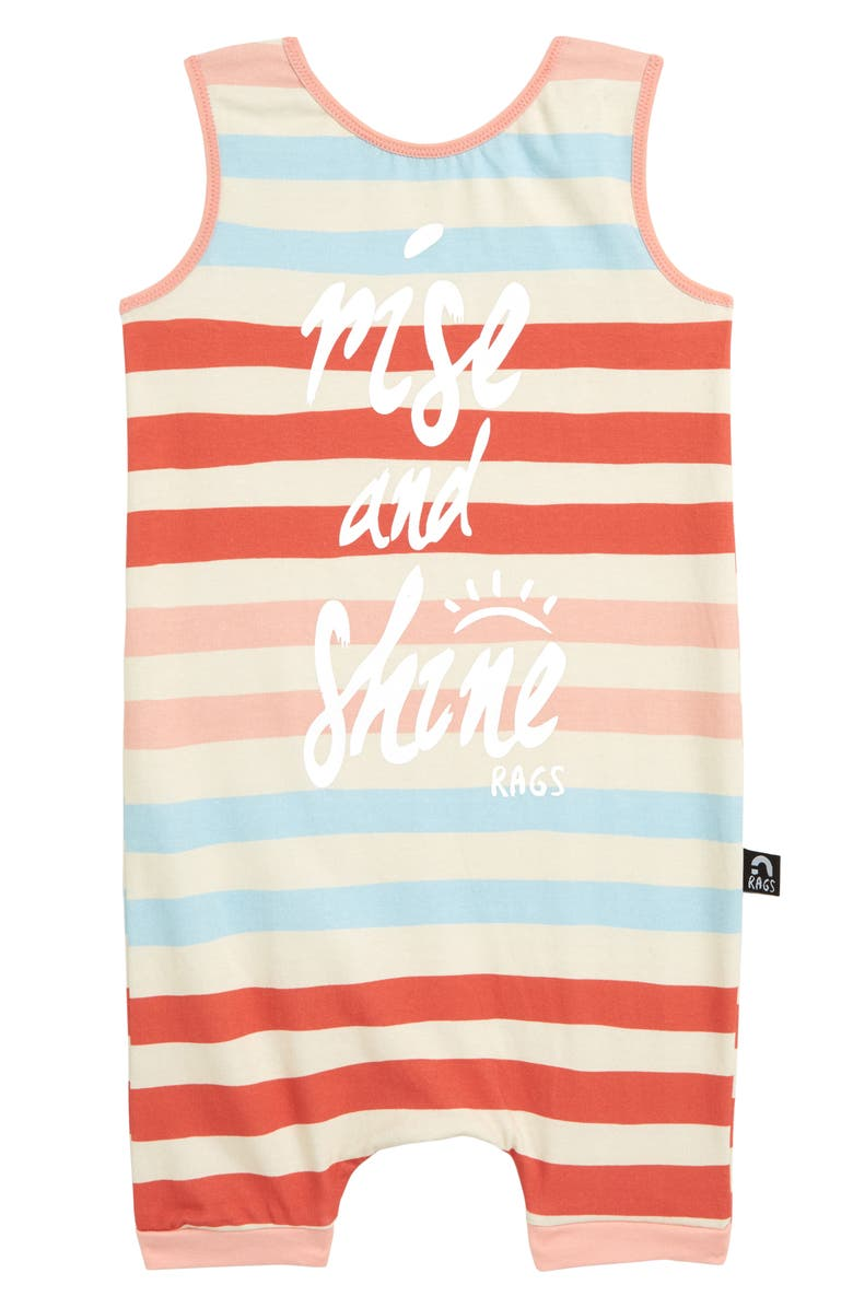 RAGS Rise & Shine Stripe Tank Romper, Main, color, CORAL
