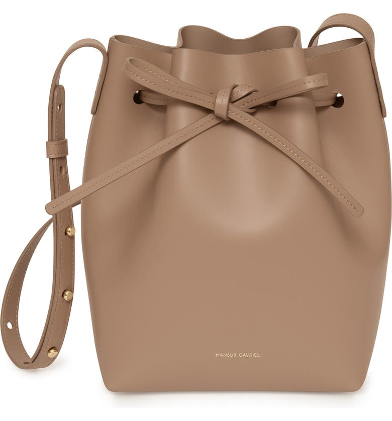 MANSUR GAVRIEL Mini Leather Bucket Bag, Main, color, BISCOTTO