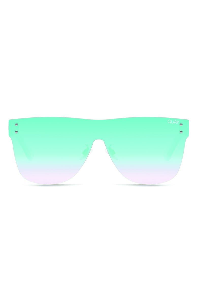 QUAY AUSTRALIA Phantom 55mm Shield Sunglasses, Main, color, BLUE/ BLUE FADE