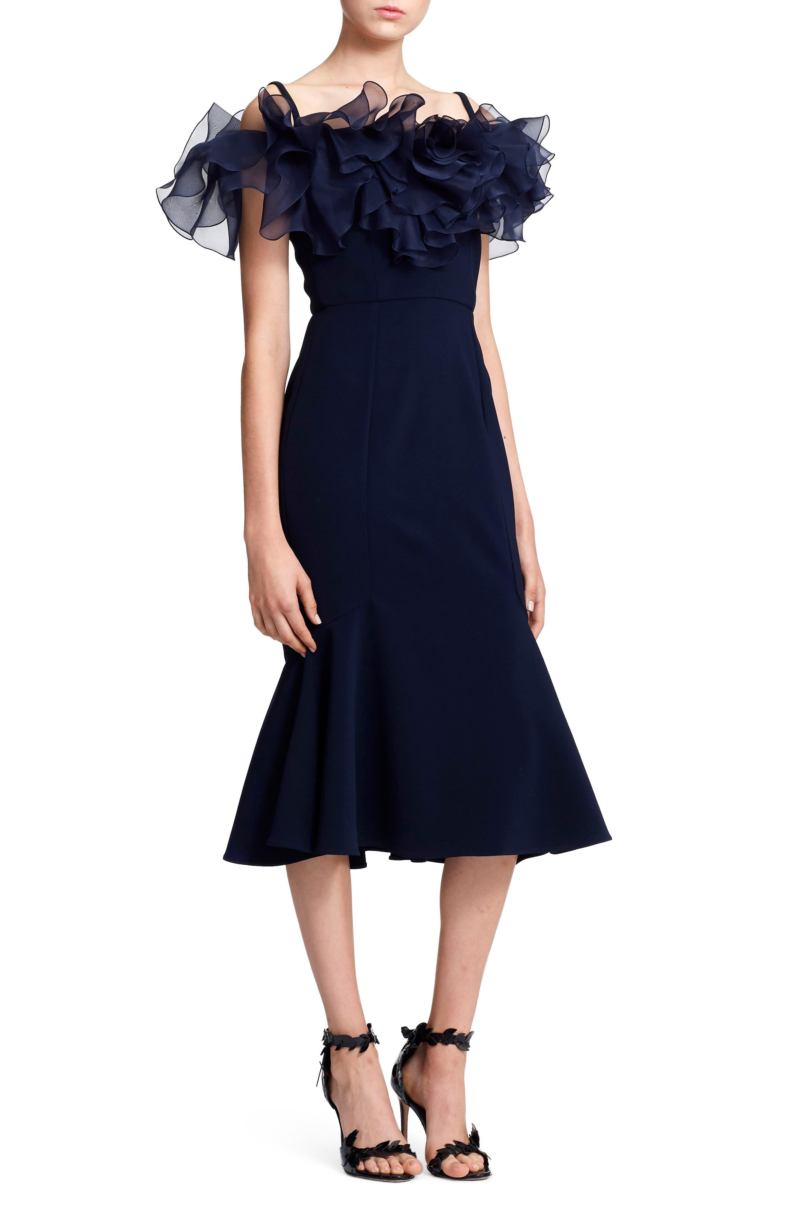 Marchesa Organza Ruffle Neck Trumpet Evening Dress, Blue