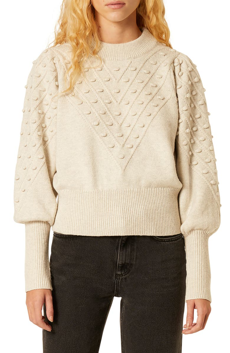 FRENCH CONNECTION Bobble Stitch Crop Sweater, Main, color, CLASSIC CREAM