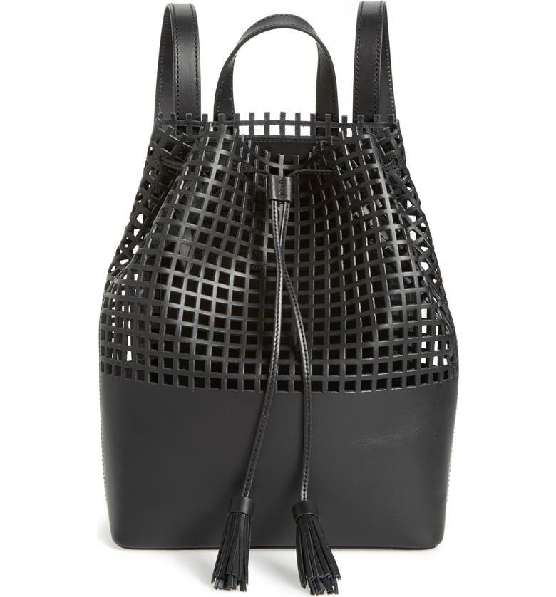 LOEFFLER RANDALL Perforated Leather Backpack, Main, color, 004