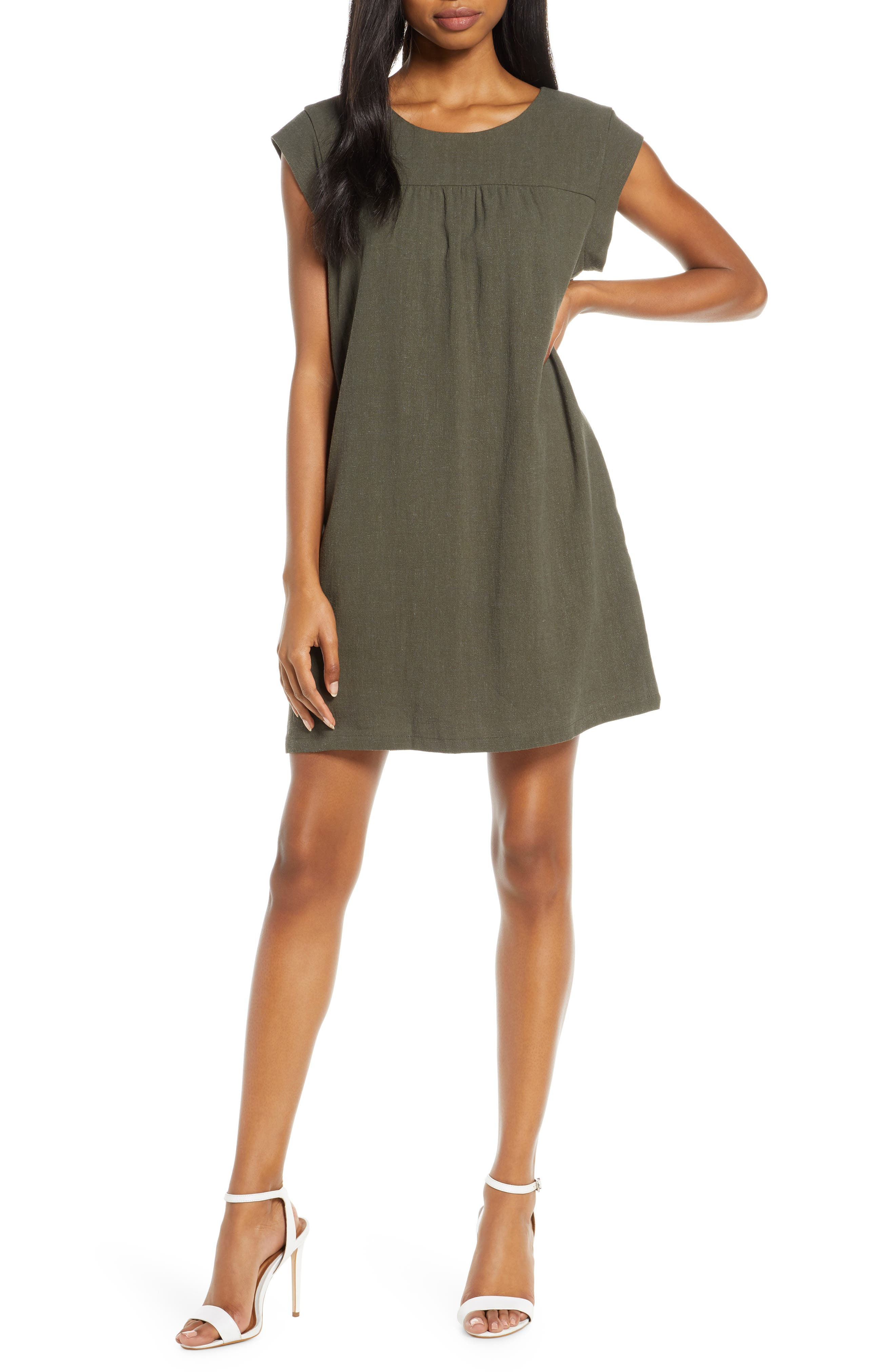 Chelsea28 Casual Shift Dress, Green