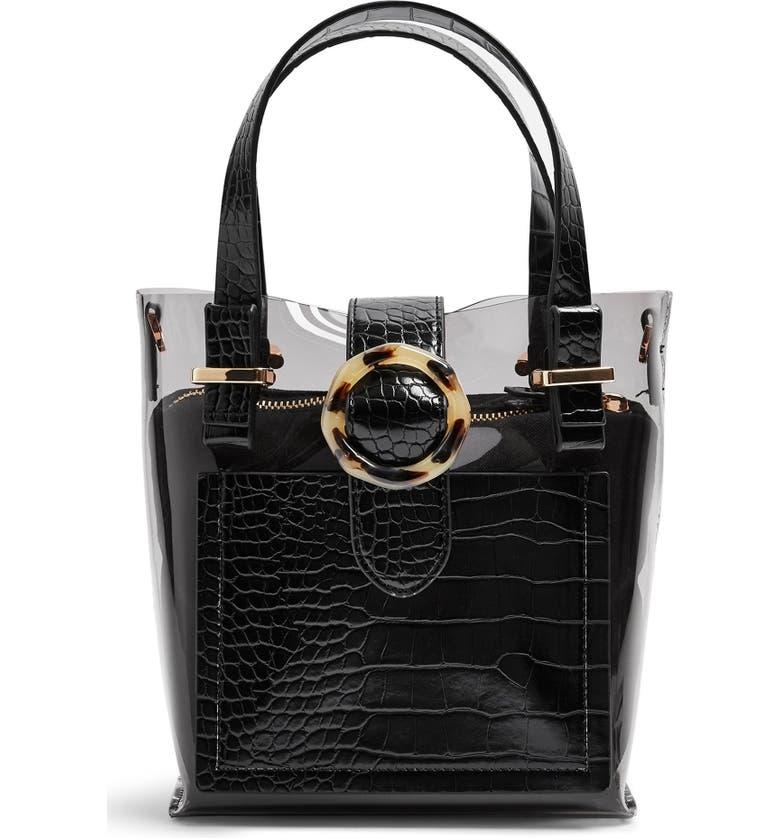 TOPSHOP Tate Mix Tote Bag, Main, color, BLACK