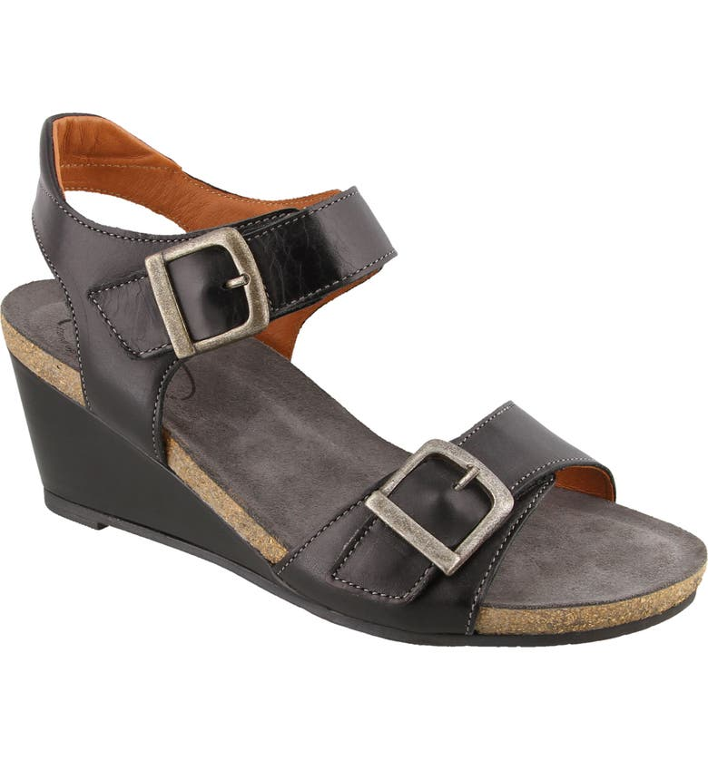 TAOS Buckle Up Sandal, Main, color, BLACK LEATHER
