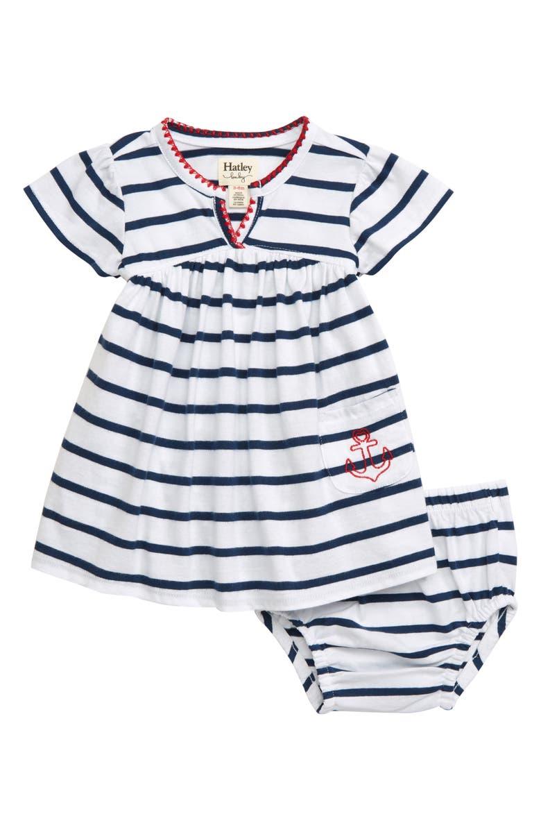 HATLEY Nautical Stripe Puff Dress, Main, color, WHITE
