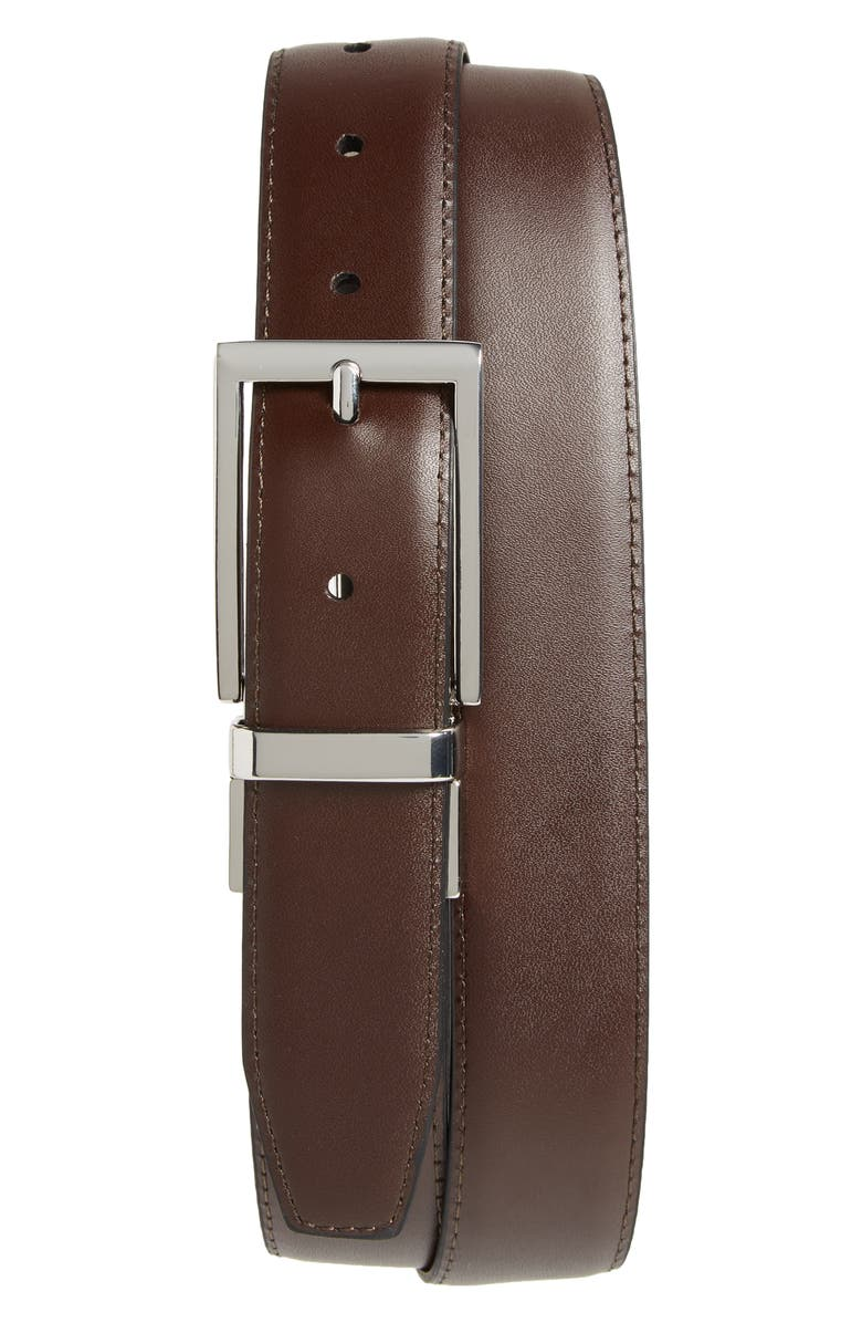 NORDSTROM MEN'S SHOP Newman Reversible Leather Belt, Main, color, BLACK/ BROWN