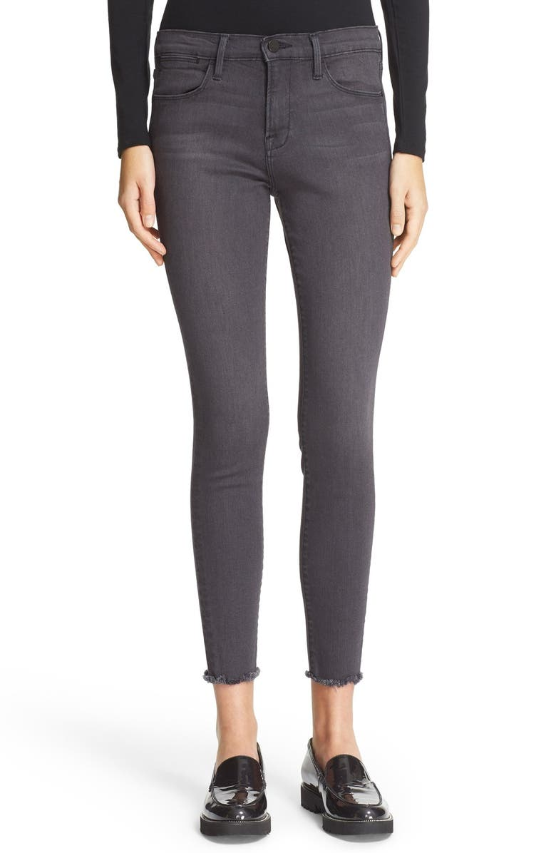 FRAME 'Le High Skinny' Raw Edge High Rise Jeans, Main, color, 021
