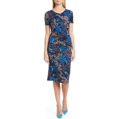 Boss Erykah Print Faux Wrap Sheath Dress, Blue