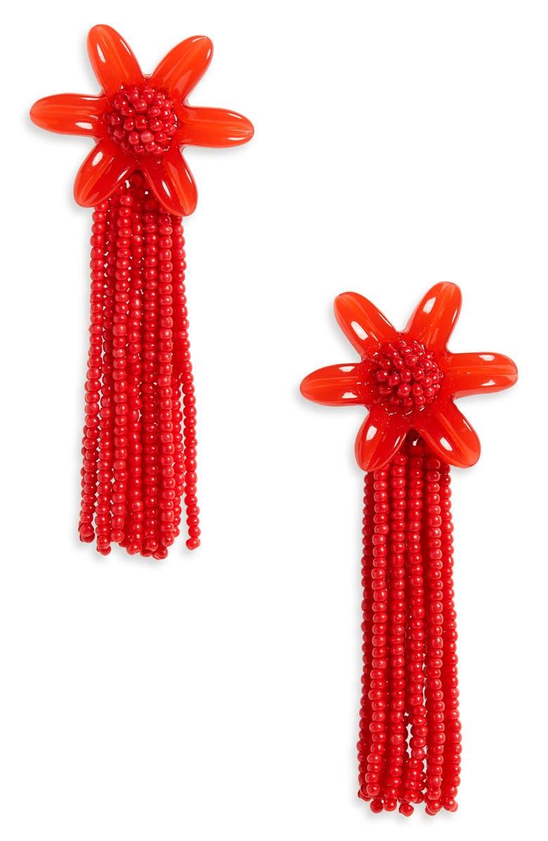 MADEWELL Beaded Tassel Flower Earrings, Main, color, 600