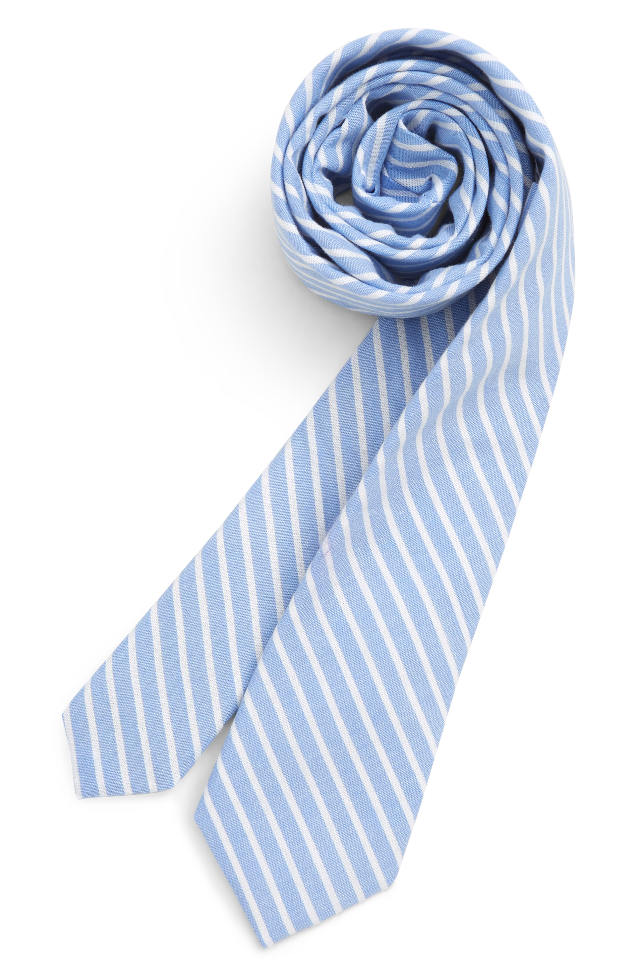 Adam Stripe Cotton Tie, Main, color, BLUE