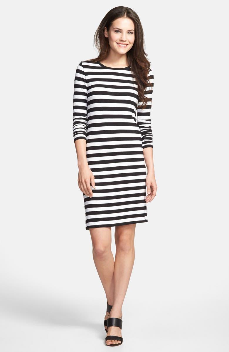 MICHAEL MICHAEL KORS Stripe Long Sleeve Dress, Main, color, 001