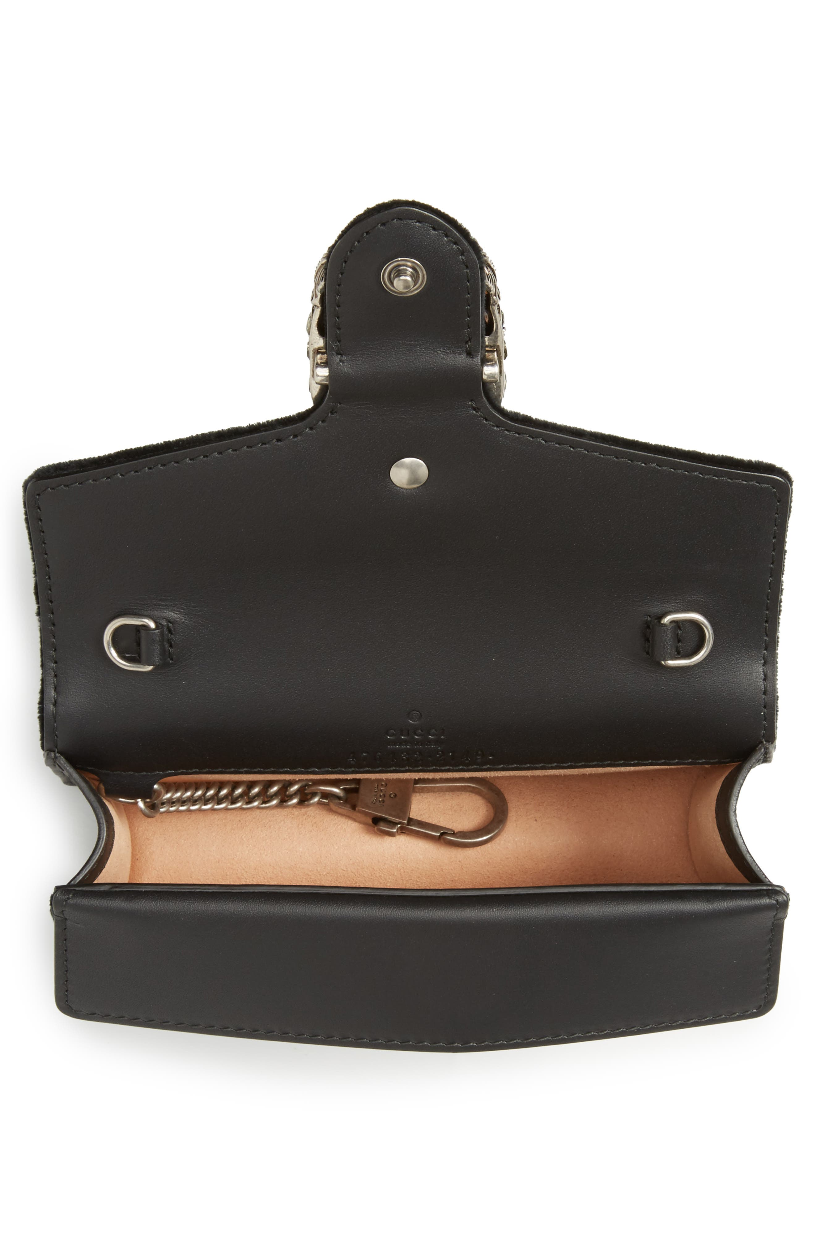 ,                             Super Mini Dionysus Velvet Shoulder Bag,                             Alternate thumbnail 10, color,                             001