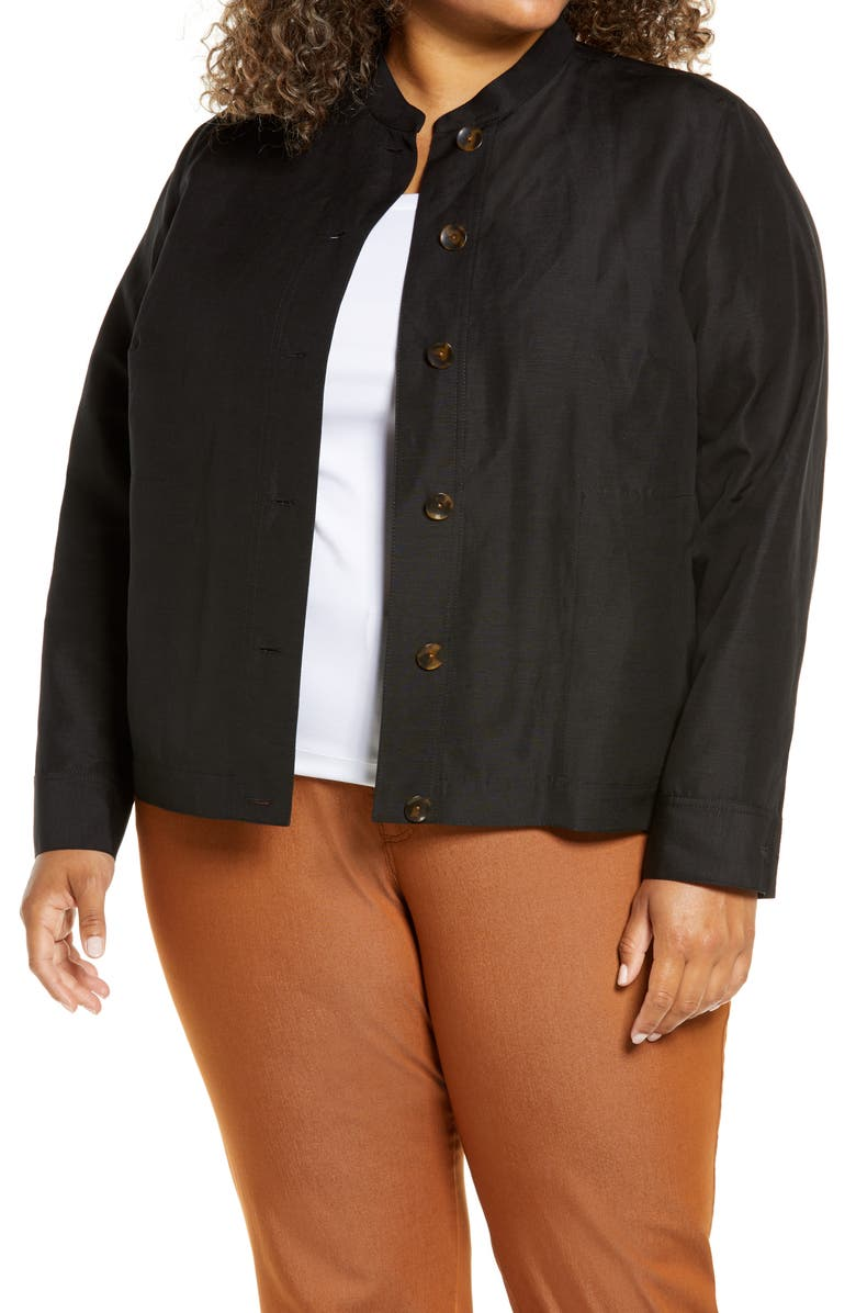LAFAYETTE 148 NEW YORK Becker Silk & Linen Bomber Jacket, Main, color, BLACK