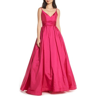 MAC Duggal V-Neck Satin Evening Dress, Pink