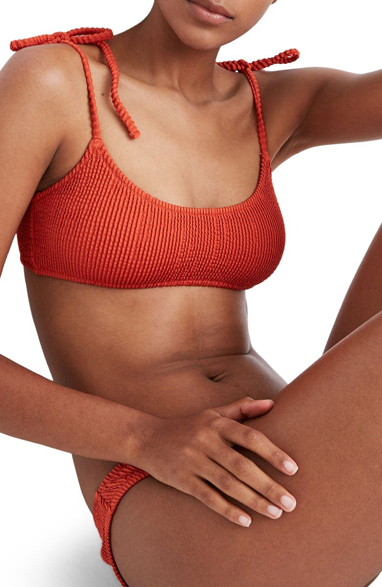 MADEWELL Second Wave Textured Tie-Strap Bikini Top, Main, color, 020