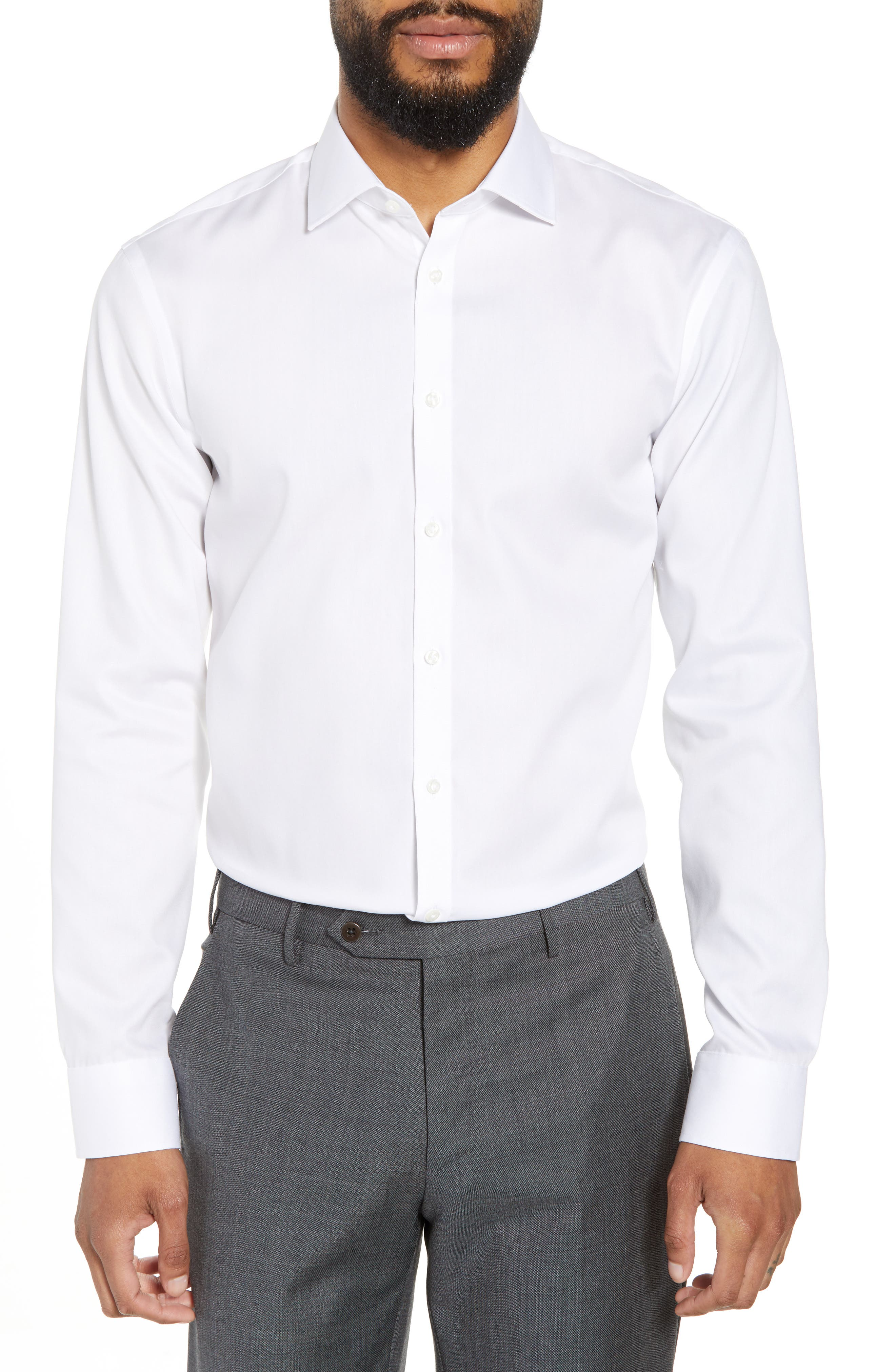 ,                             Extra Trim Fit Non-Iron Solid Dress Shirt,                             Main thumbnail 49, color,                             100
