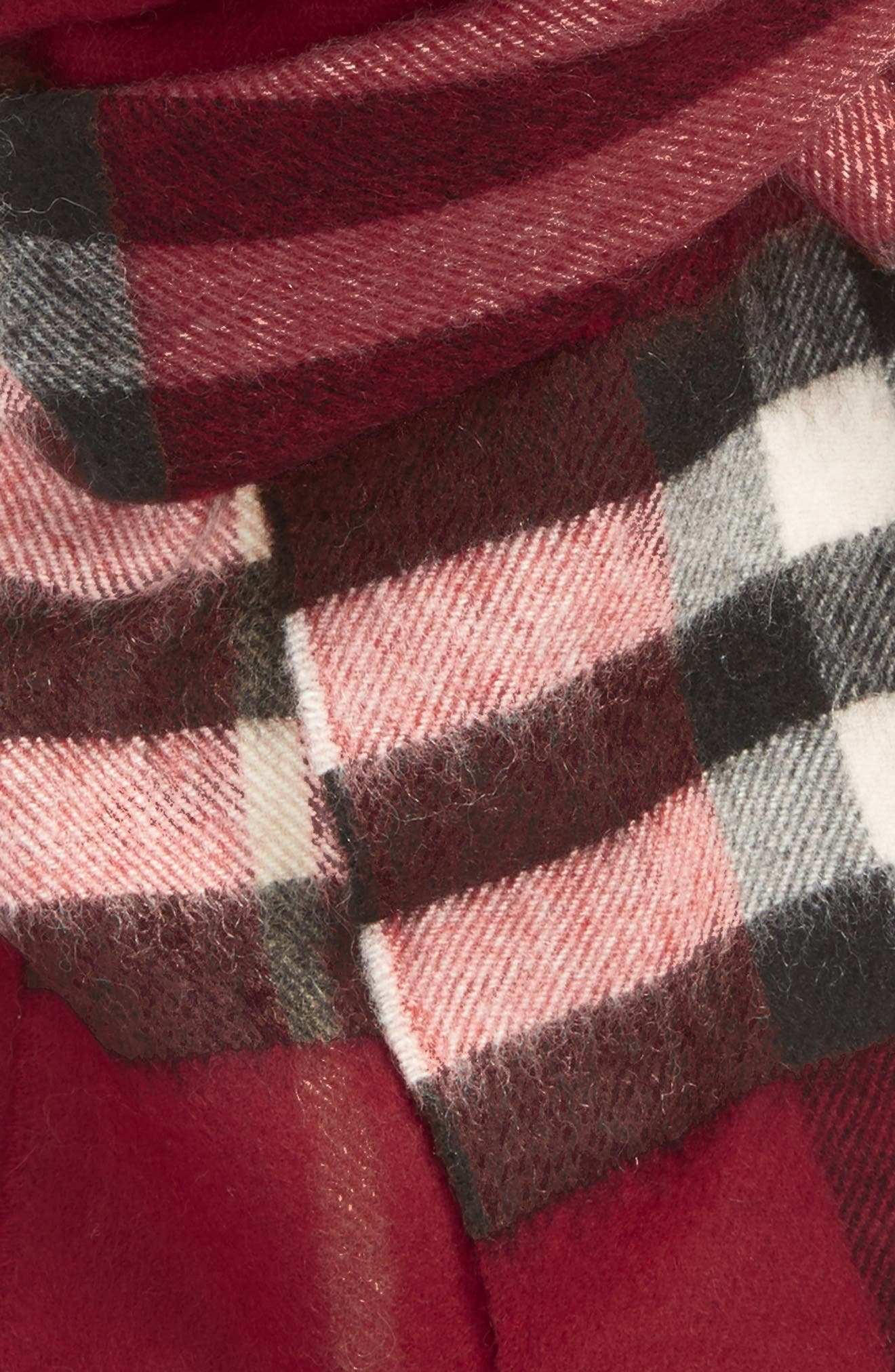 ,                             Giant Check Cashmere Scarf,                             Alternate thumbnail 4, color,                             PARADE RED