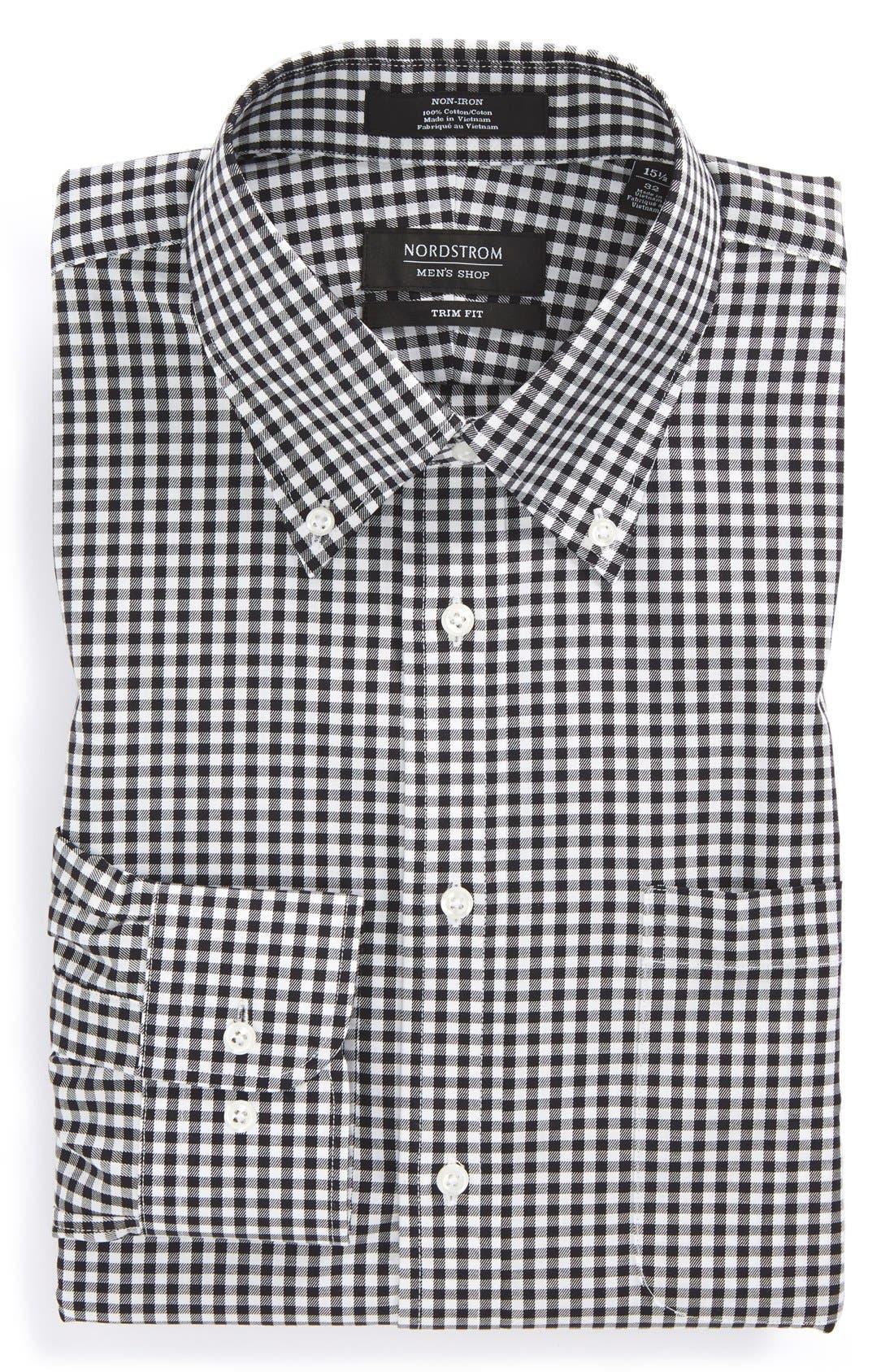 ,                             Trim Fit Non-Iron Gingham Dress Shirt,                             Alternate thumbnail 4, color,                             BLACK ROCK