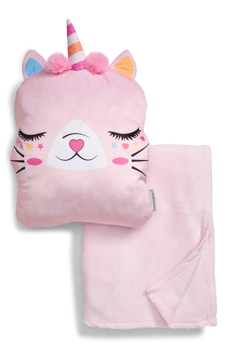 UNDER ONE SKY Caticorn Throw & Pillow Set, Main, color, PINK