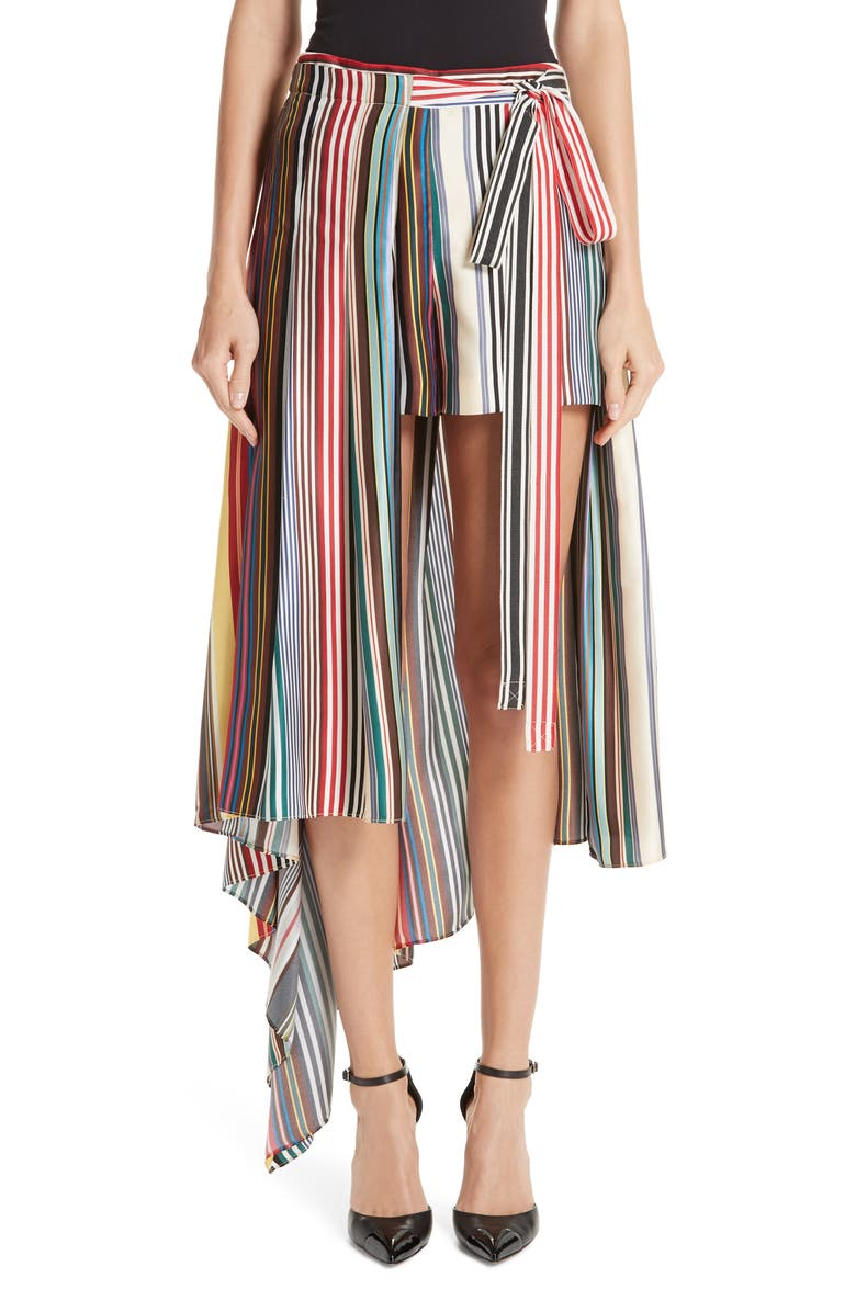 MONSE Stripe Silk Shorts with Overskirt, Main, color, MULTI