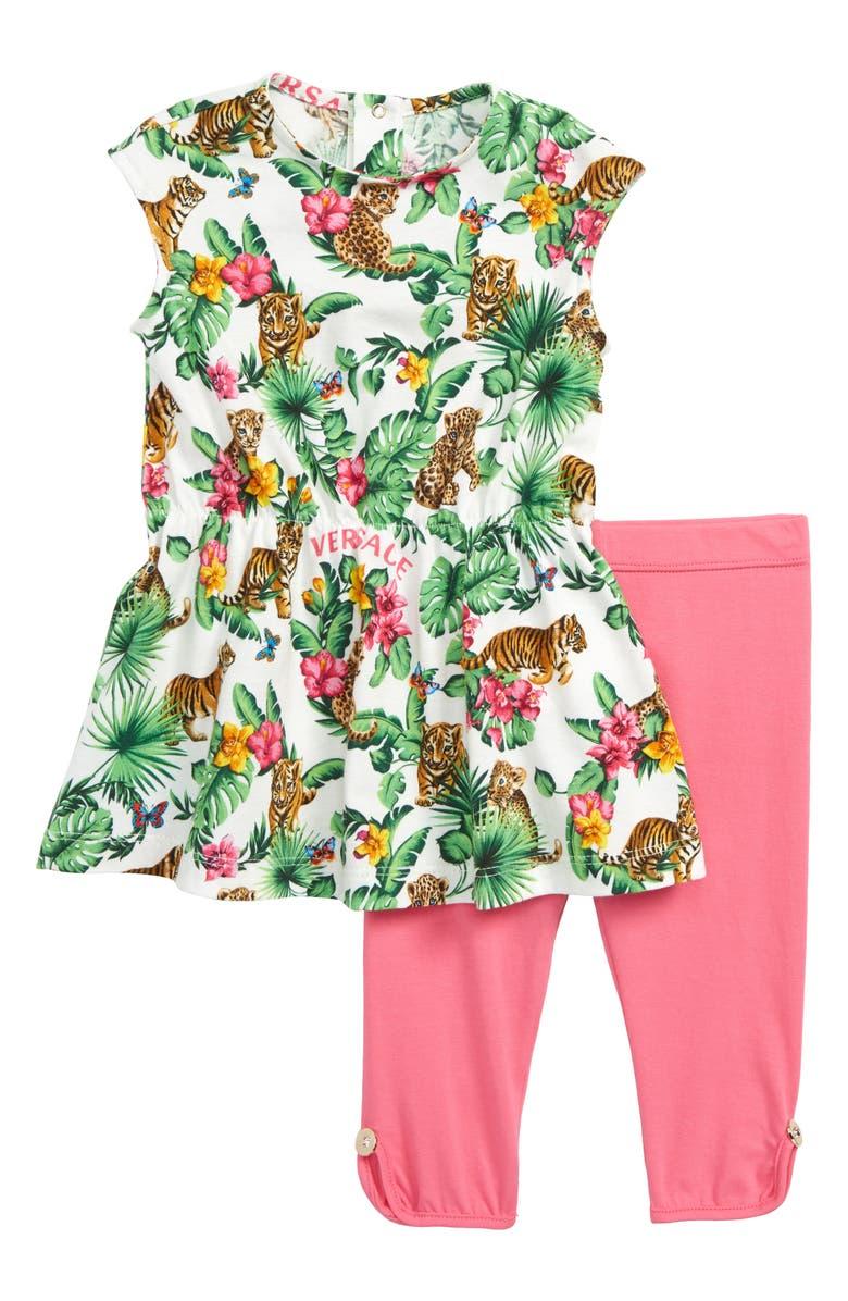 VERSACE Dress & Leggings Set, Main, color, 100