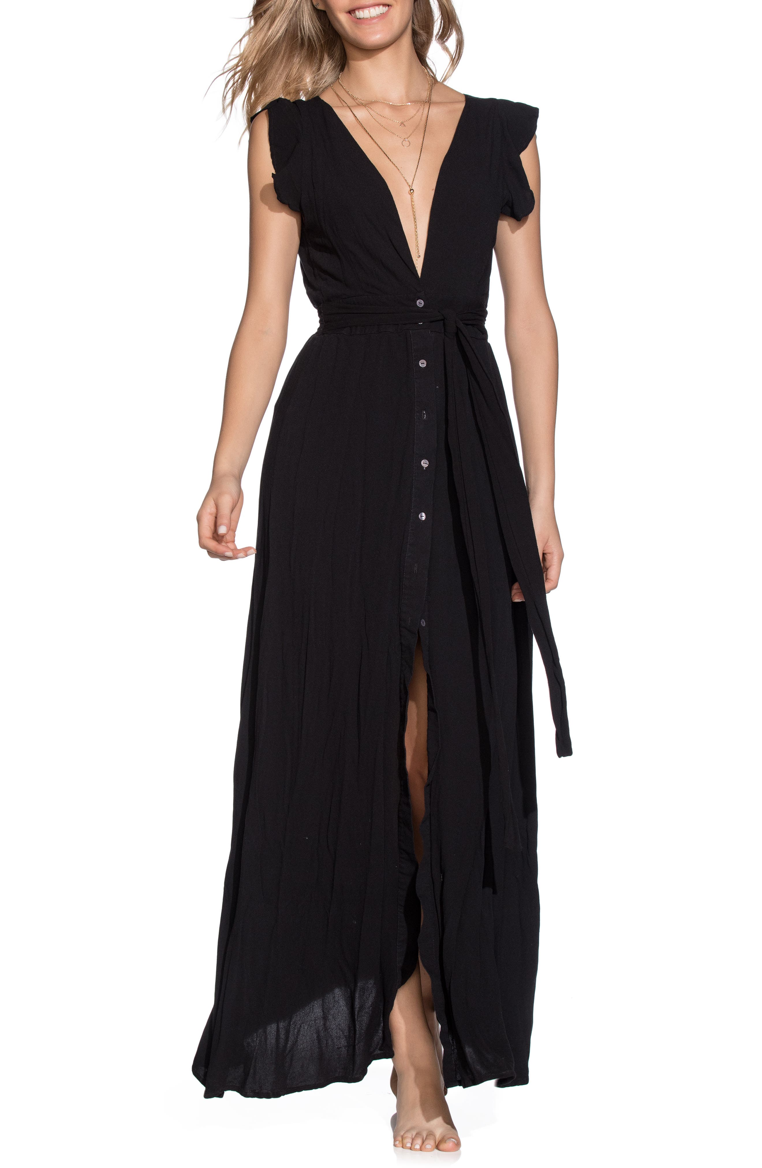 Maaji Turtle-Iffic Plunge Cover-Up Maxi Dress, Black