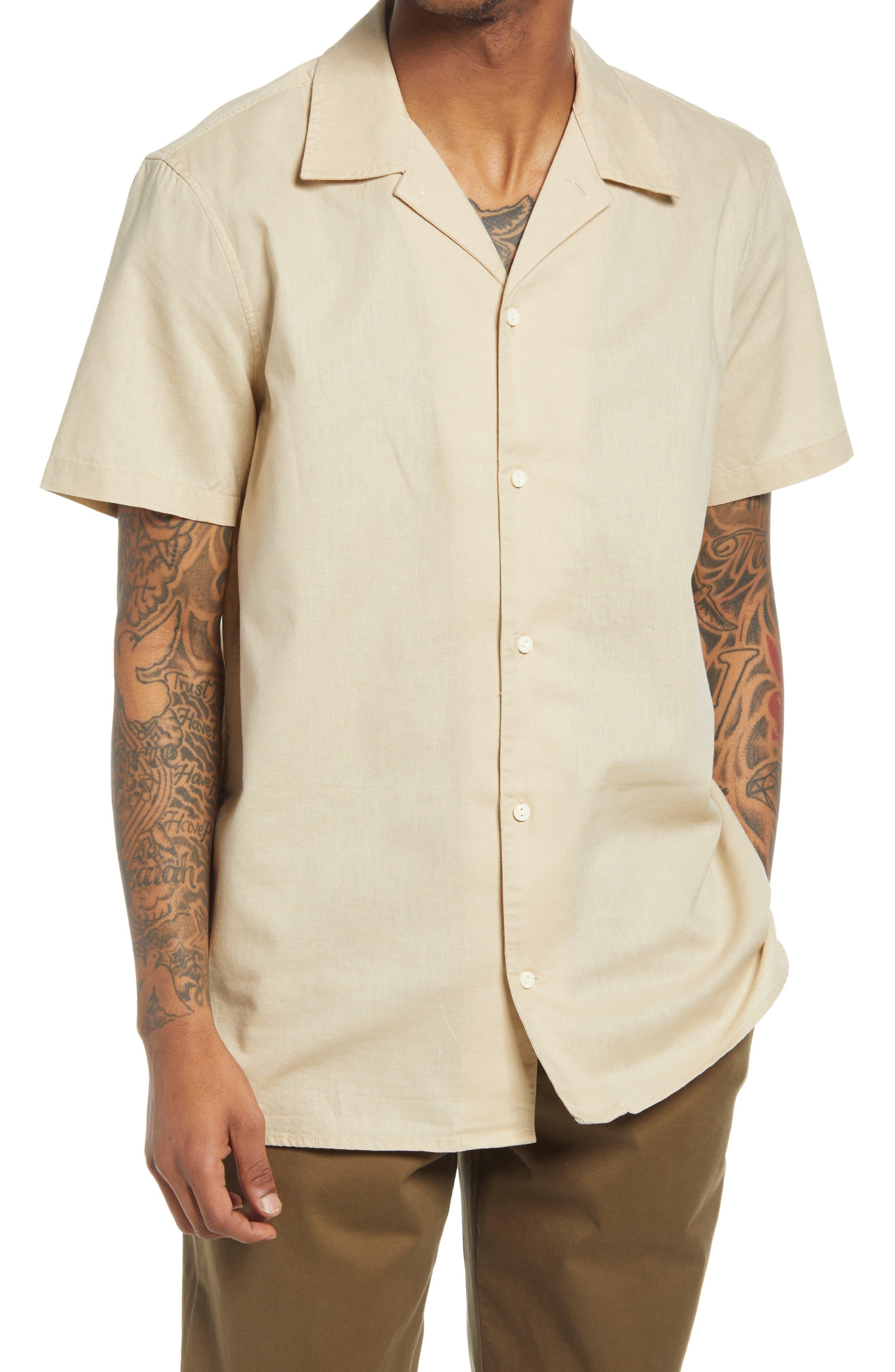1930s Men's Fashion Guide- What Did Men Wear? Mens Treasure  Bond Short Sleeve Linen  Cotton Button-Up Camp Shirt Size XXX-Large - Beige $59.50 AT vintagedancer.com