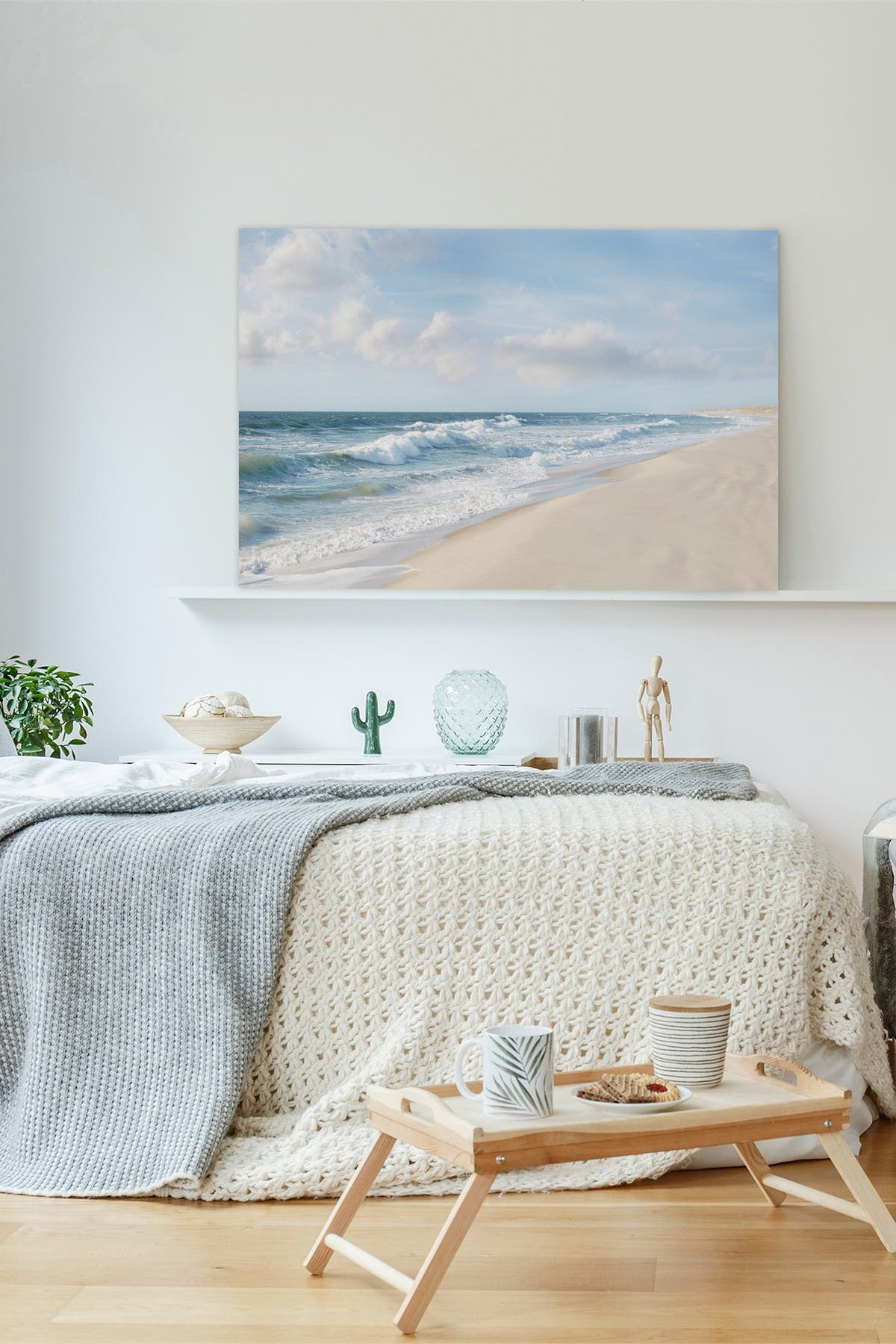 """Image of Marmont Hill Inc. Shore and Waves Painting Print on Wrapped Canvas - 18"""" x 12"""""""