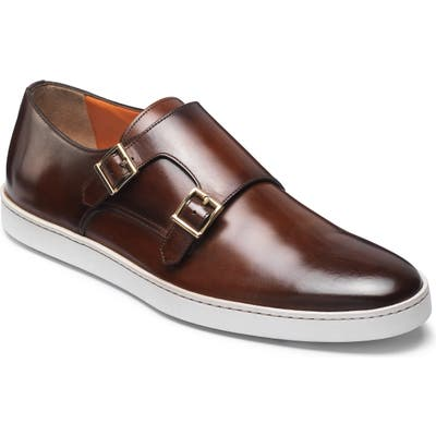 Santoni Fremont Double Monk Strap Shoe - Brown