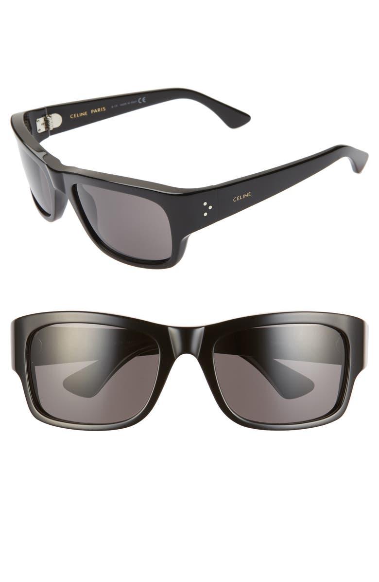 CELINE 56mm Rectangle Sunglasses, Main, color, 001
