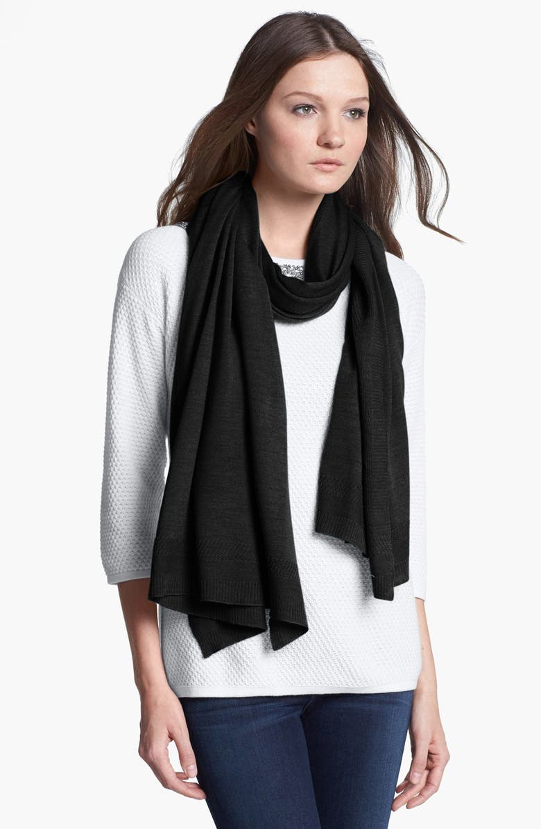 NORDSTROM Versatile Wrap with Textured Border, Main, color, 001