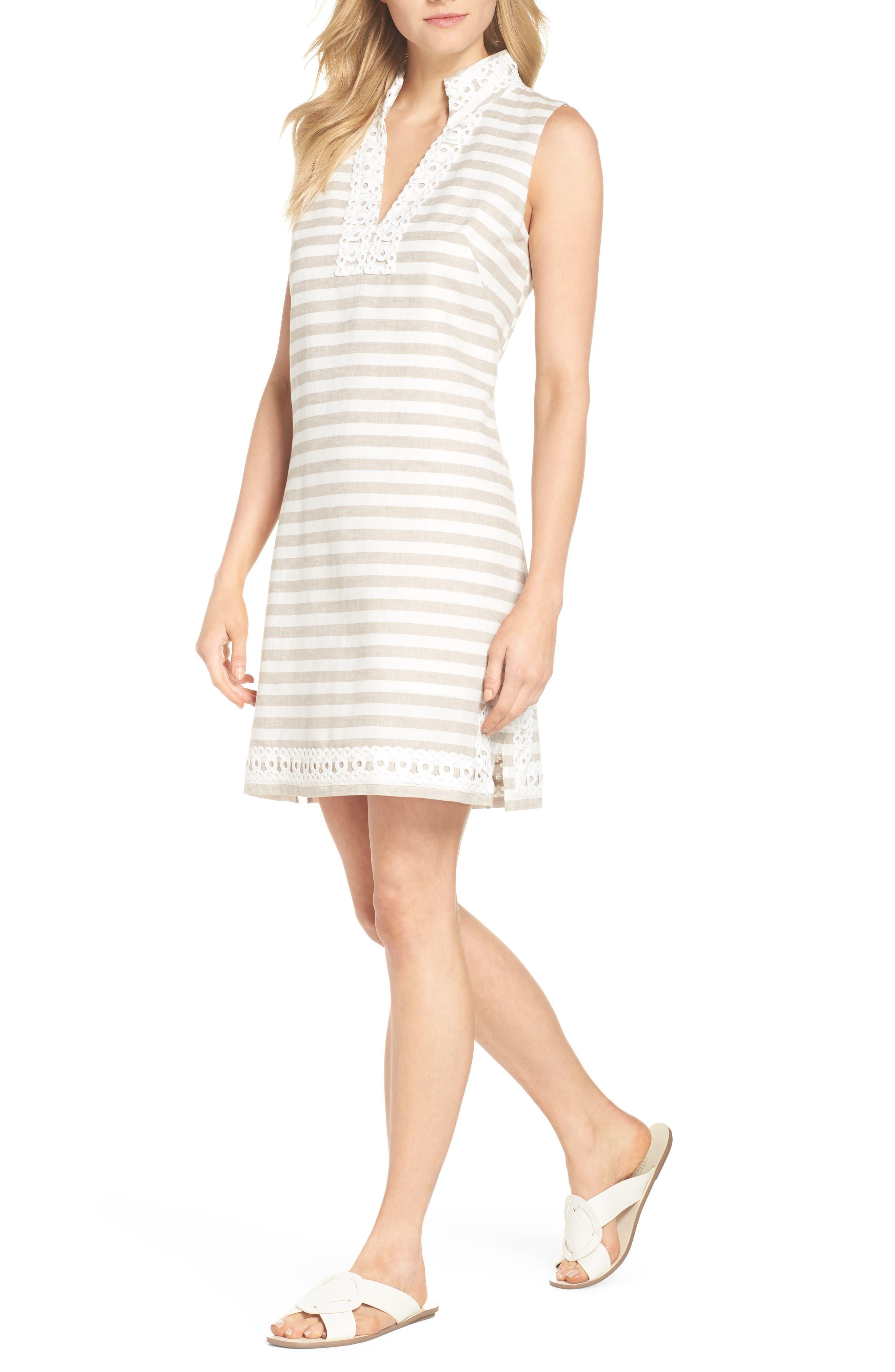 Eliza J Stripe Linen & Cotton Blend Sundress, Beige