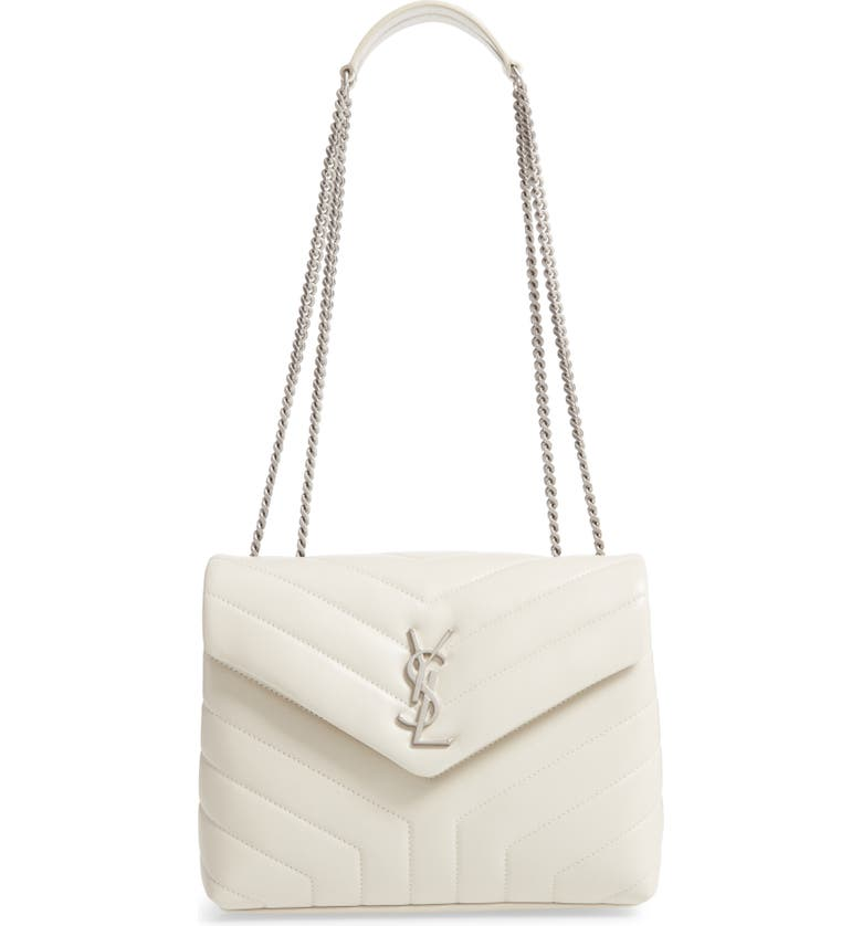 SAINT LAURENT Small Loulou Matelassé Leather Shoulder Bag, Main, color, BLANC VINTAGE