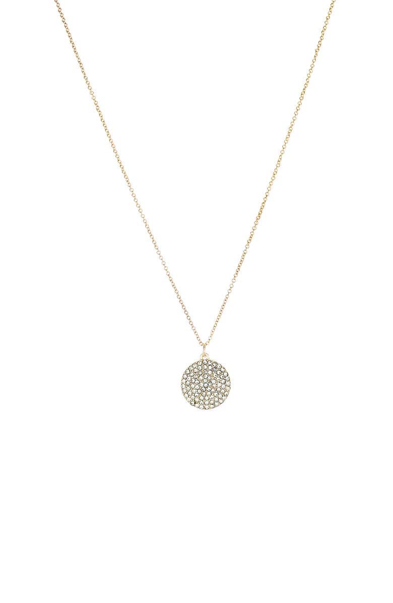 PANACEA Pavé Disc Pendant Necklace, Main, color, GOLD
