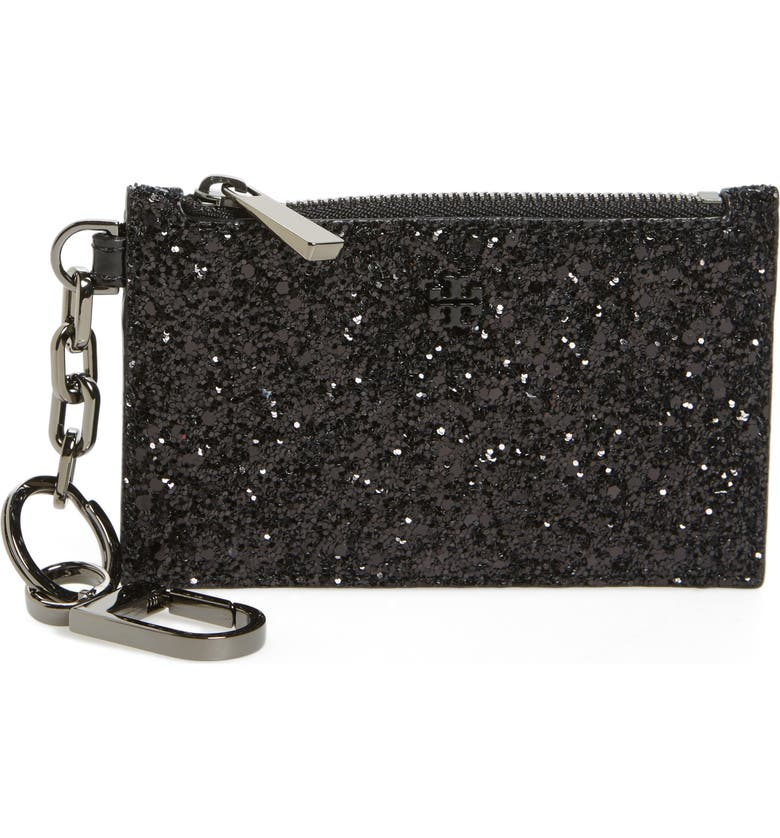 TORY BURCH Robinson Glitter Card Case with Key Chain, Main, color, 001
