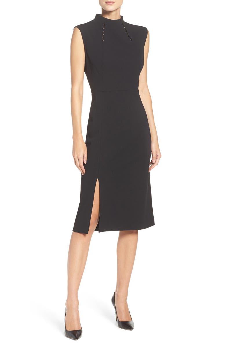 IVANKA TRUMP Crepe Midi Dress, Main, color, 001