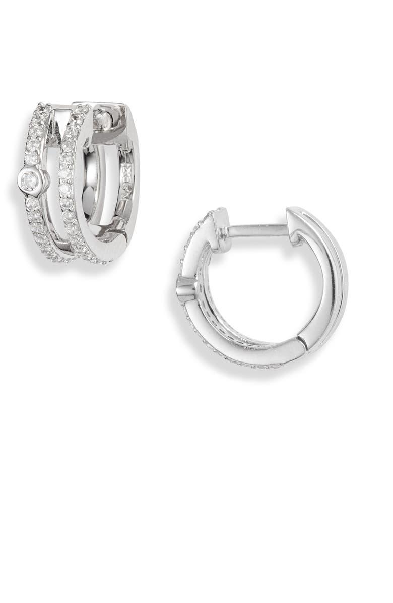 NADRI Double Row Huggie Hoop Earrings, Main, color, 040