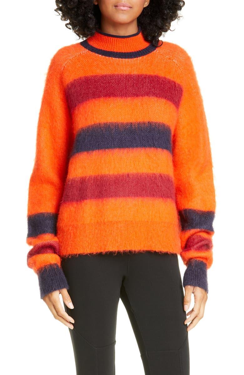 PROENZA SCHOULER WHITE LABEL Proenza Schouler PSWL Stripe Sweater, Main, color, ORANGE COMBO