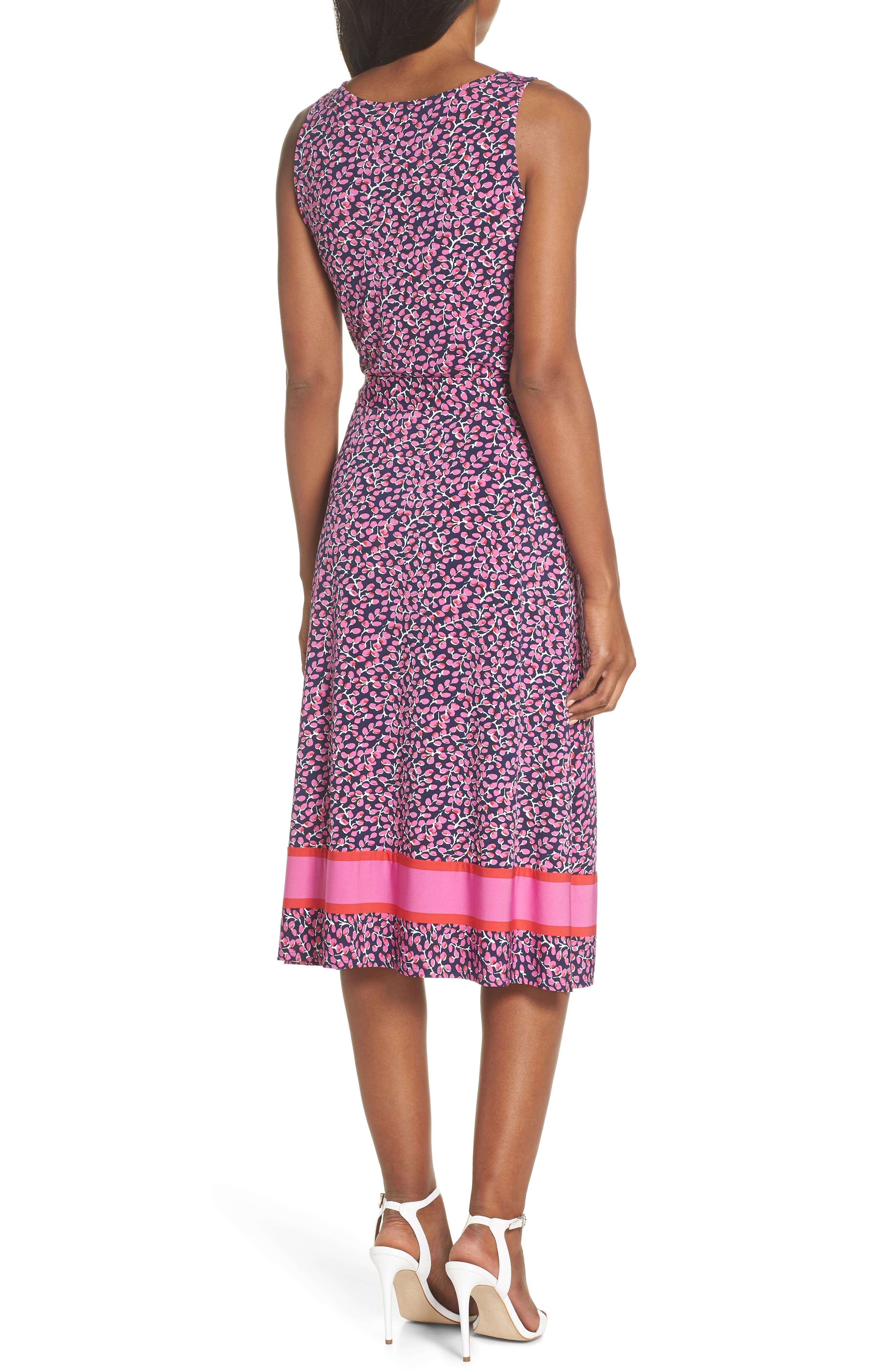 ,                             Justine Border Print Wrap Dress,                             Alternate thumbnail 9, color,                             665