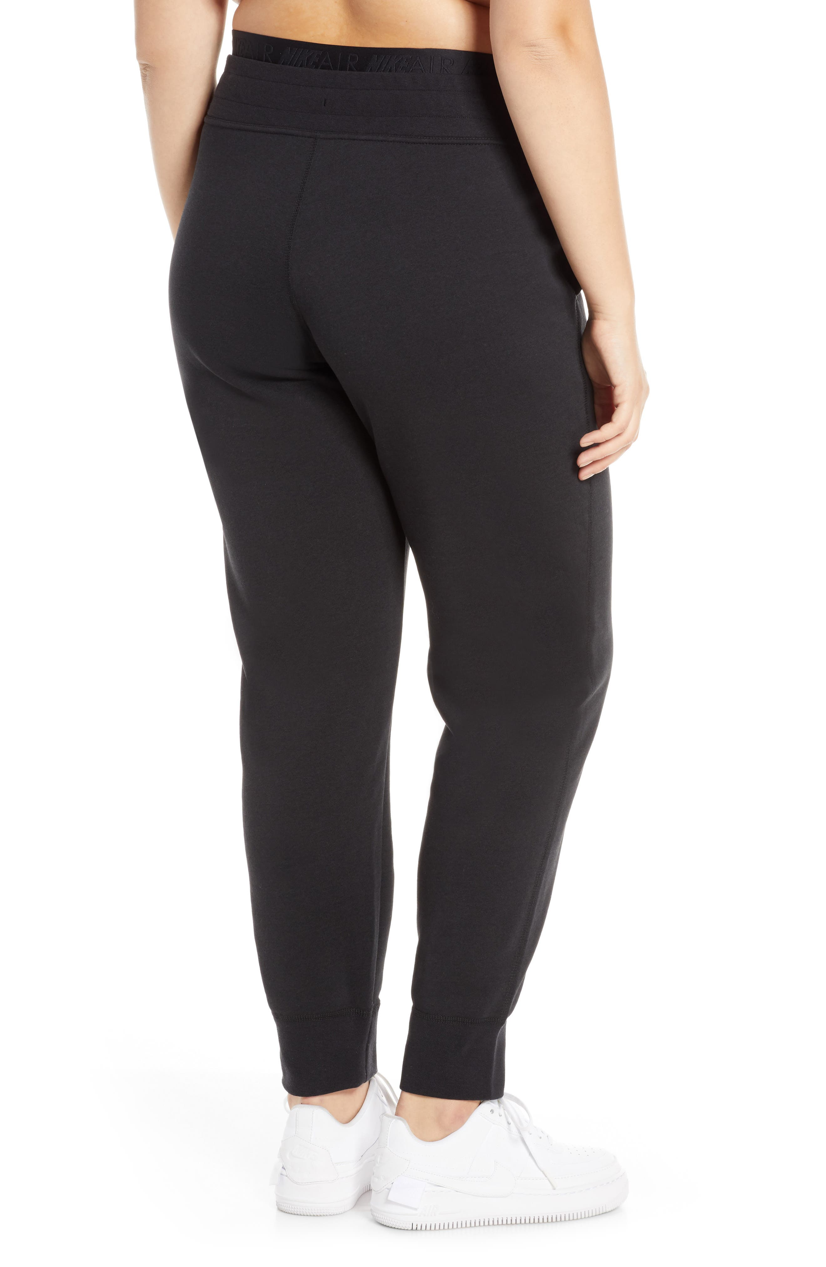 ,                             Sportswear Air Fleece Jogger Pants,                             Alternate thumbnail 5, color,                             BLACK/ WHITE