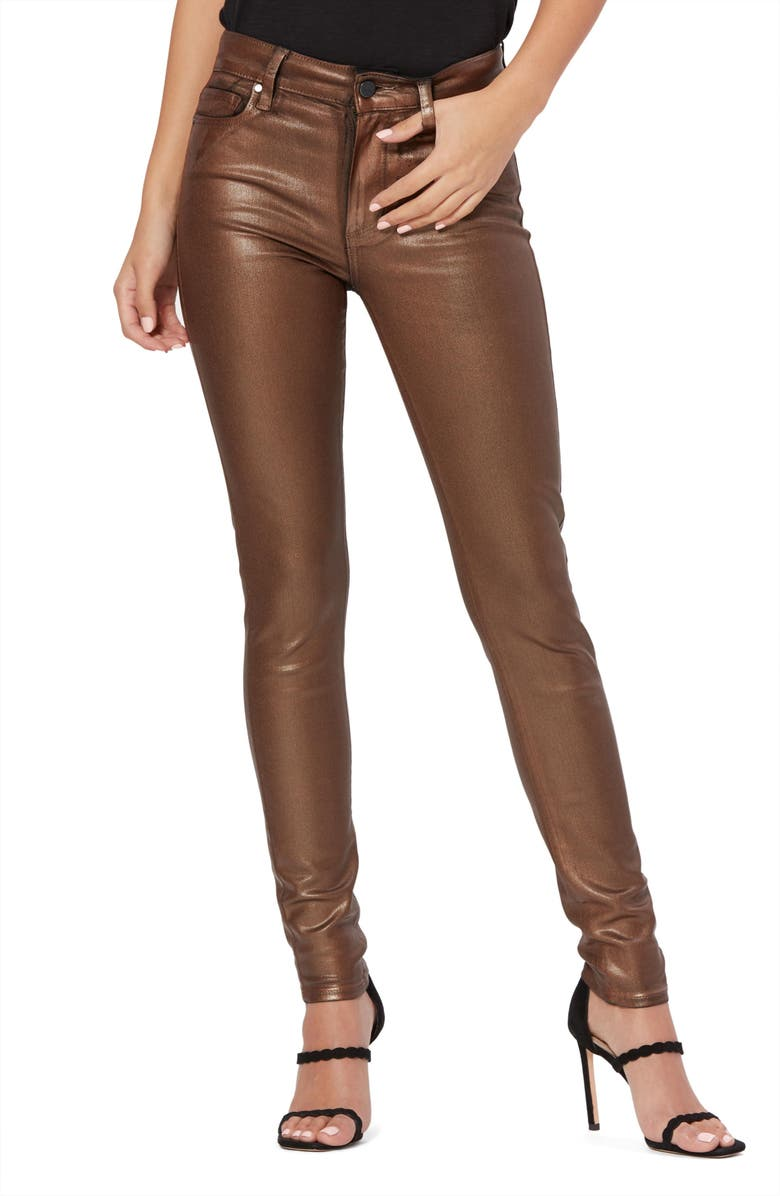 PAIGE Transcend - Hoxton High Waist Coated Ankle Skinny Jeans, Main, color, PEARLIZED COPPER COATING