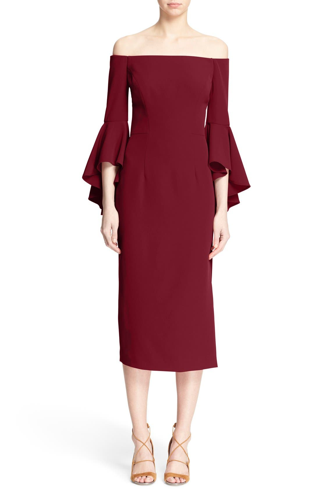 ,                             Selena Off the Shoulder Midi Dress,                             Main thumbnail 49, color,                             507